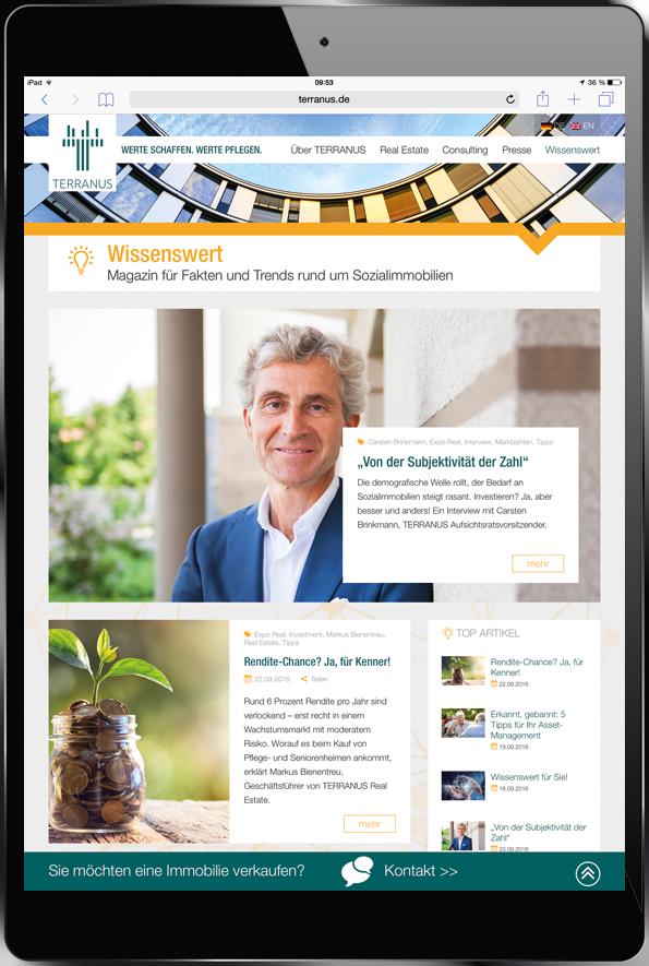 """Tablet mit Online-Magazin """"Wissenswert"""" von TERRANUS, dem führenden Partner von Investoren und Betreibern für Sozialimmobilien in Deutschland."""